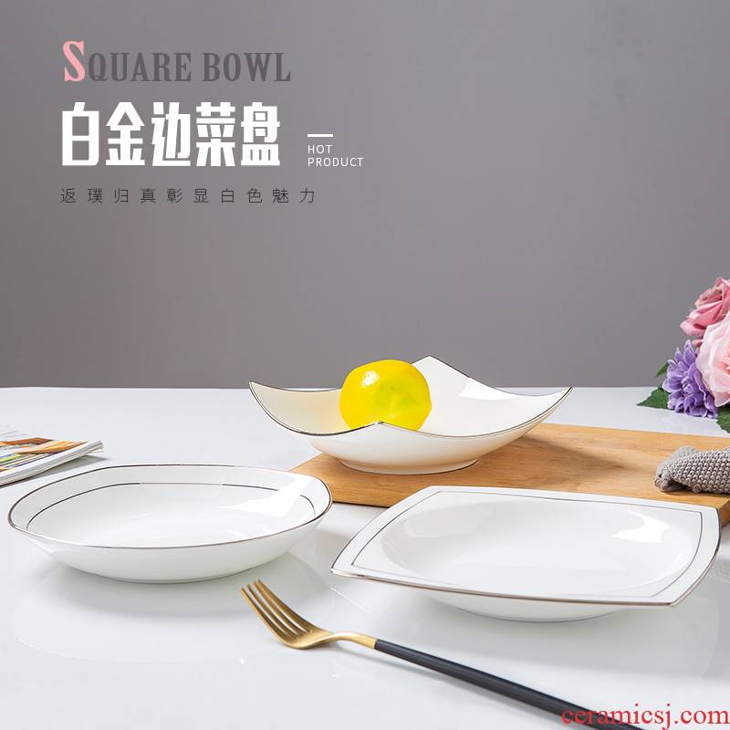Jingdezhen creative white 0 square deep dish ceramic tableware household the up phnom penh dish steak dinner plate
