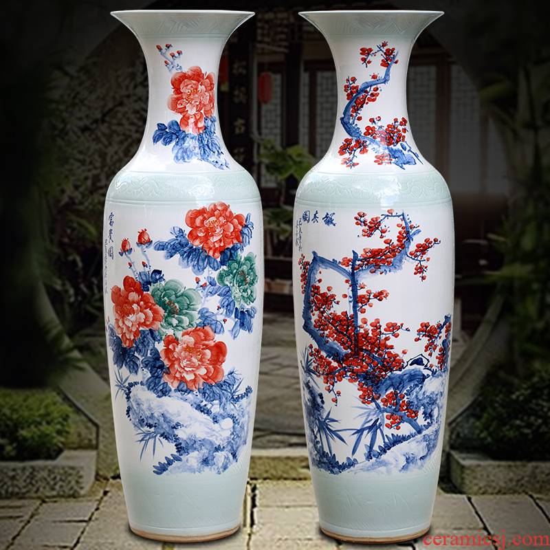 Jingdezhen ceramic hand - made peony riches and honour figure of large vase home sitting room place study office decoration