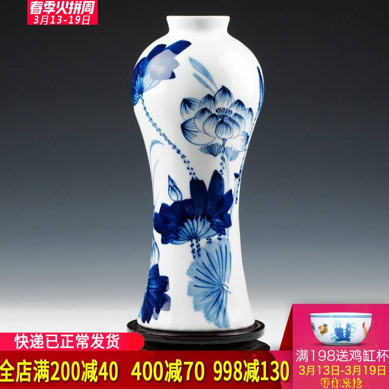 Blue and white hand draw freehand brushwork in traditional Chinese jingdezhen ceramics creative home furnishing articles flower vases, flower implement the living room