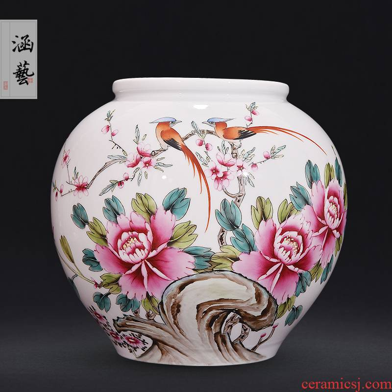 Jingdezhen ceramics hand - made pastel spring scenery garden porcelain vase Chinese sitting room place flower decoration