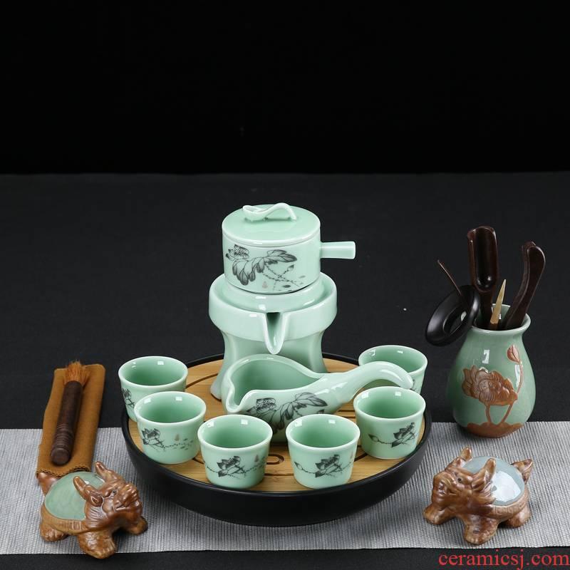 Tea set home stone mill creative ceramic teapot Tea tray was kung fu Tea cup half full automatic lazy