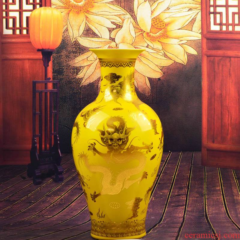 Jingdezhen ceramics, vases, flower arranging furnishing articles in yellow jinlong landing home decoration decoration large aj33 sitting room