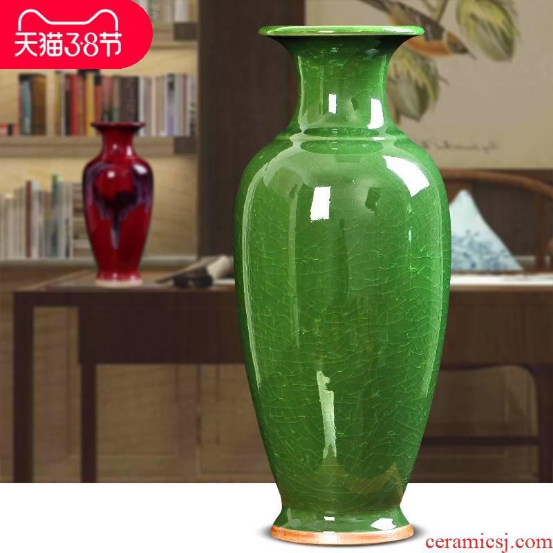 Jingdezhen ceramic vase furnishing articles Chinese antique large up crack jun porcelain bottle decoration flower arrangement sitting room
