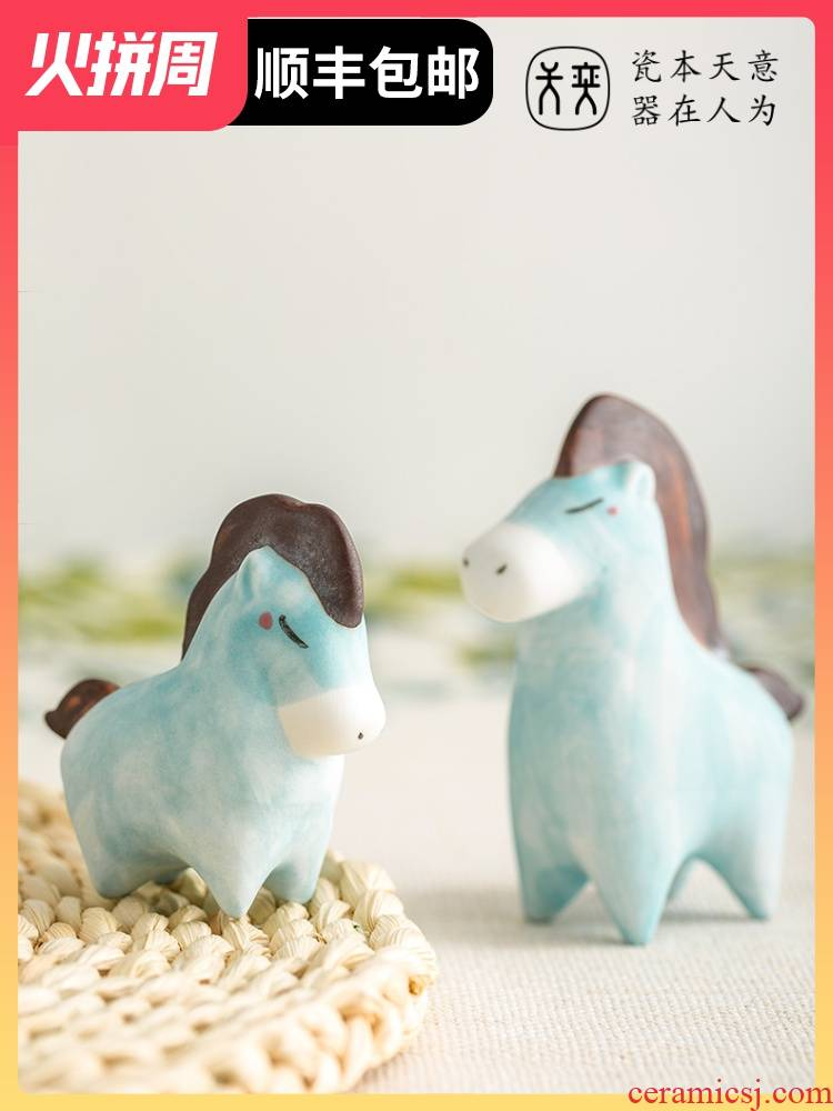 Little blue horse ceramic decoration furnishing articles hand - made particularly lovely creative desk desktop birthday book