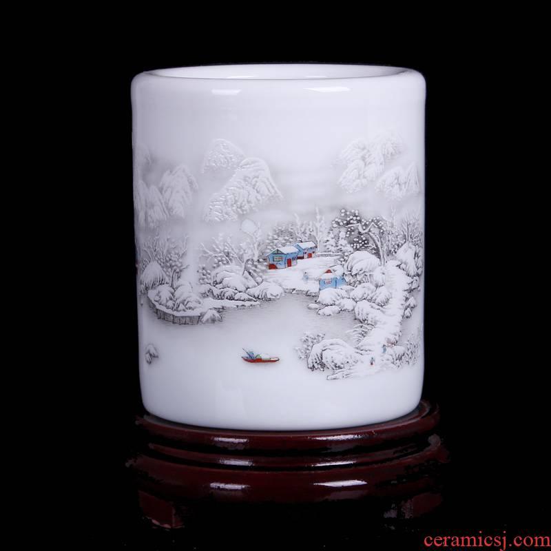 Jingdezhen ceramic ware ideas contracted ceramic brush pot snow friends brush pot desk accessories furnishing articles