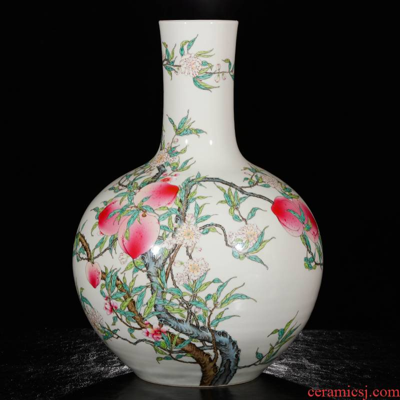Yang Shiqi ceramic qianlong palace type and name pastel nine peach tree
