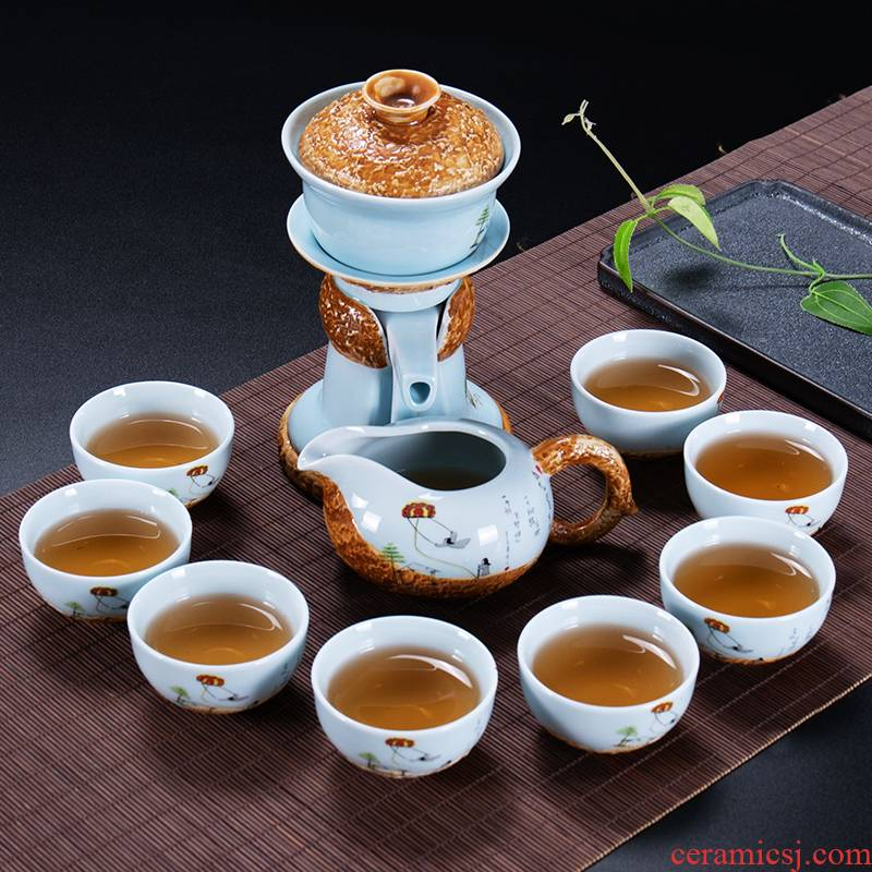 Ronkin household creative semi - automatic kung fu tea set suits for all lazy people make tea ware ceramic teapot teacup