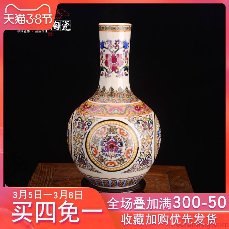 Jingdezhen ceramic antique colored enamel vase classical household furnishing articles sitting room TV ark, handicraft ornament