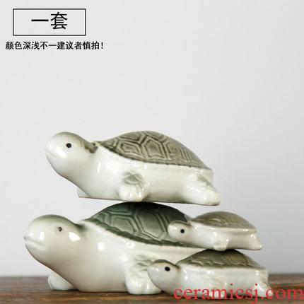 Small place turtle floating, lovely mini desktop collectors jingdezhen porcelain home decoration supplies landscape fortune