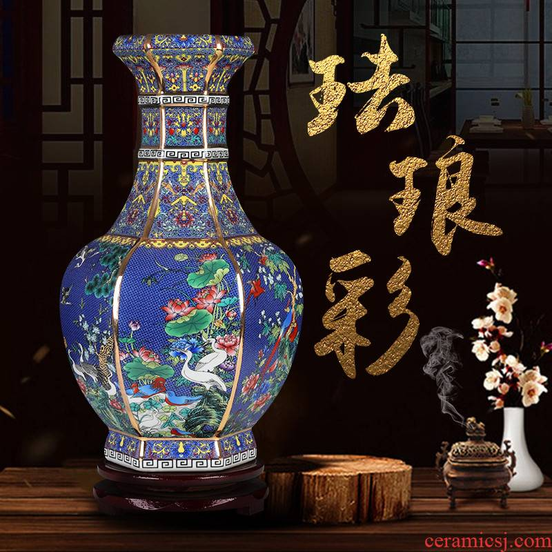 Archaize of jingdezhen ceramics colored enamel six - party vases, flower arrangement of Chinese style living room decorations home furnishing articles restoring ancient ways