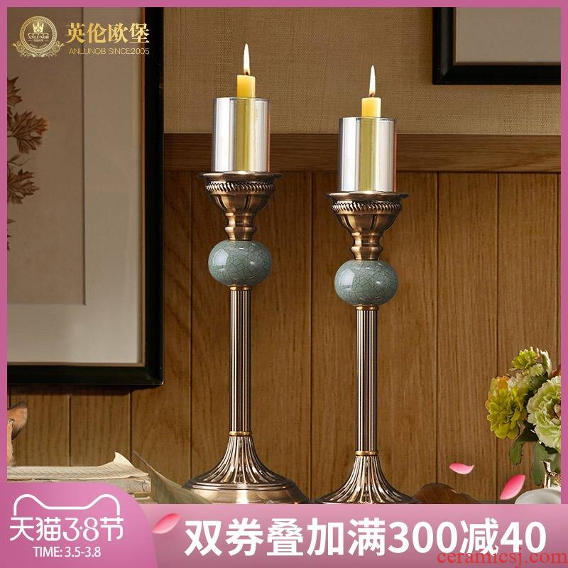 Continental candlestick furnishing articles wedding wedding props Nordic table ceramic based holders restoring ancient ways American household decorations