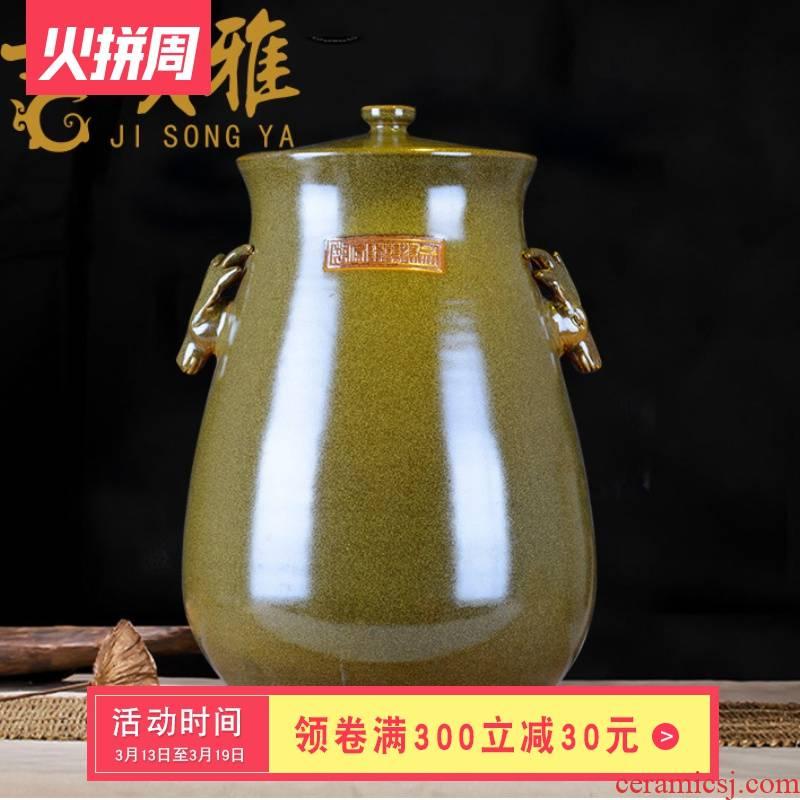 Ceramic barrel ricer box flour cylinder surface of cylinder storage bins 50 pounds of tea at the end of the glaze of jingdezhen Ceramic tank meters altar