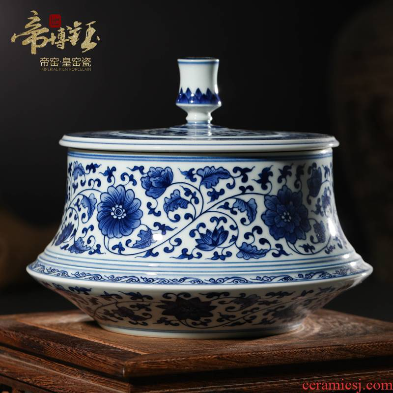 Imitation of the qing emperor kangxi with hand - made sitting room put lotus flower tea canister to jingdezhen ceramics home decoration furnishing articles