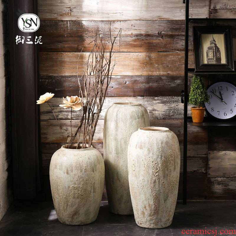Ceramic floor dry flower vases, restoring ancient ways is I and contracted Nordic flower arrangement home stay facility pottery flowerpot sitting room adornment is placed