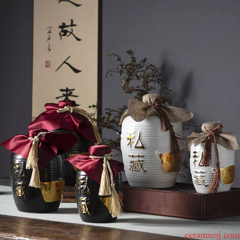 Jingdezhen ceramic bottle archaize little wine jars 1 catty 5 jins of 10 jins put liquor bottles of household ceramic seal pot