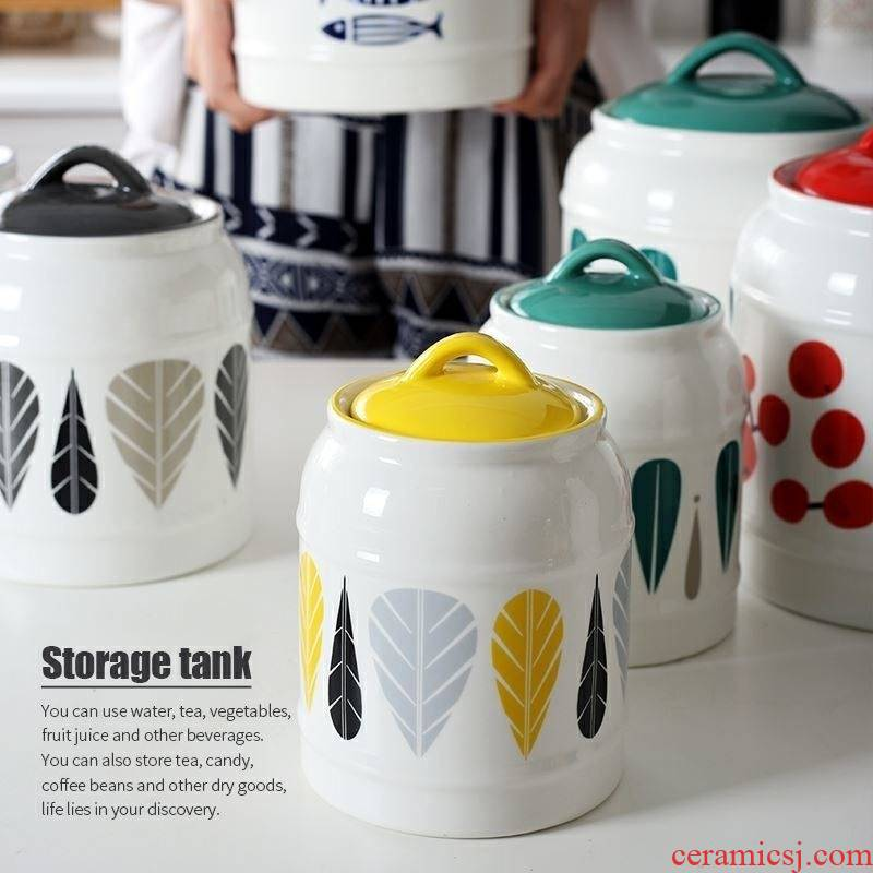 Ceramic seal tank large rice wine jar with cover as the home kitchen receive pot room of coarse cereals