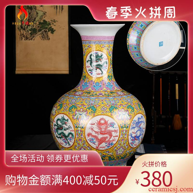 Archaize of jingdezhen ceramics powder enamel of large vases, classical Chinese style living room Angle of what adornment furnishing articles, Kowloon