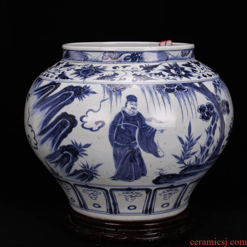 Jingdezhen ceramics vase furnishing articles stories of Chinese style household adornment hand - made archaize yuan blue and white big pot