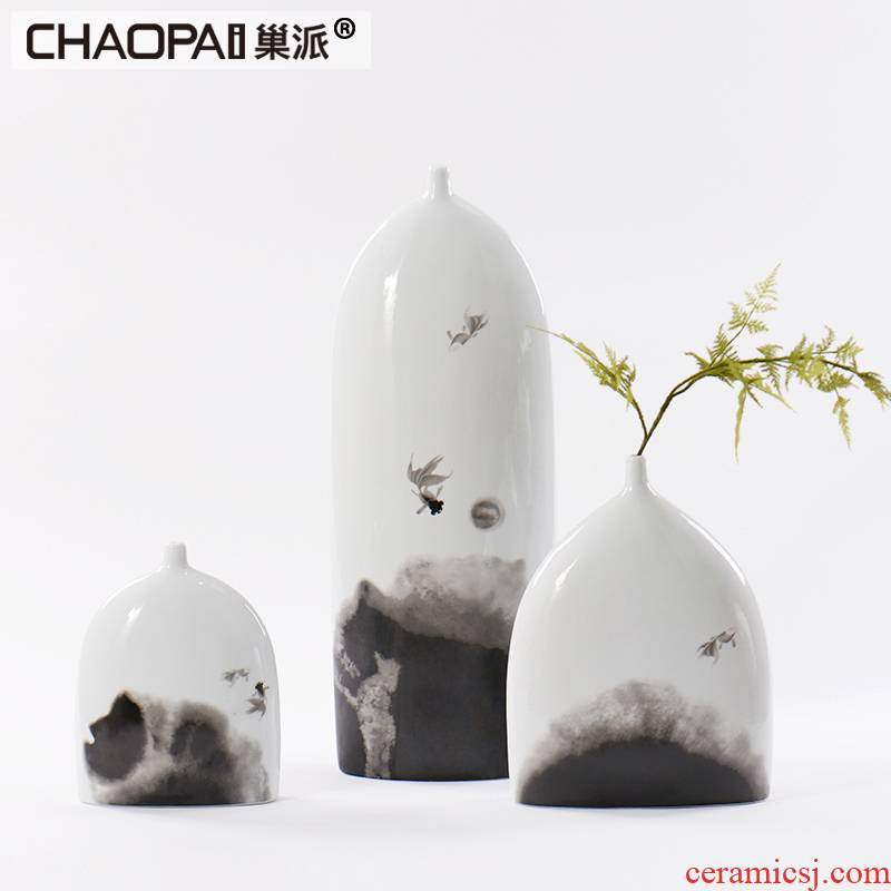 Modern Chinese zen landscape ceramic pot furnishing articles example room feel porch ark, fine expressions using vases, flower decoration