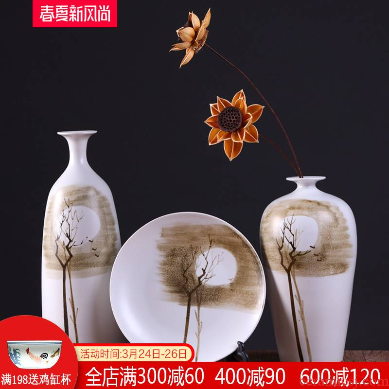Modern new Chinese style is classic adornment teahouse zen furnishing articles ceramic vase in the sitting room porch dried flowers flower arrangement of jingdezhen
