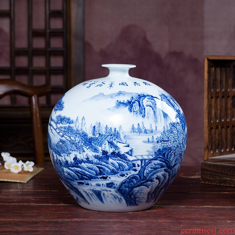 Jingdezhen blue and white ceramics hand - made scenery vases, flower arranging Chinese style home furnishing articles sitting room adornment handicraft