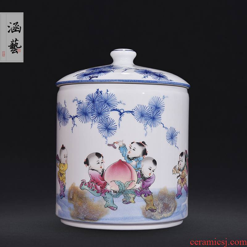 Jingdezhen ceramic powder enamel jar full caddy fixings Chinese style living room beaming straight home decoration furnishing articles craft gift