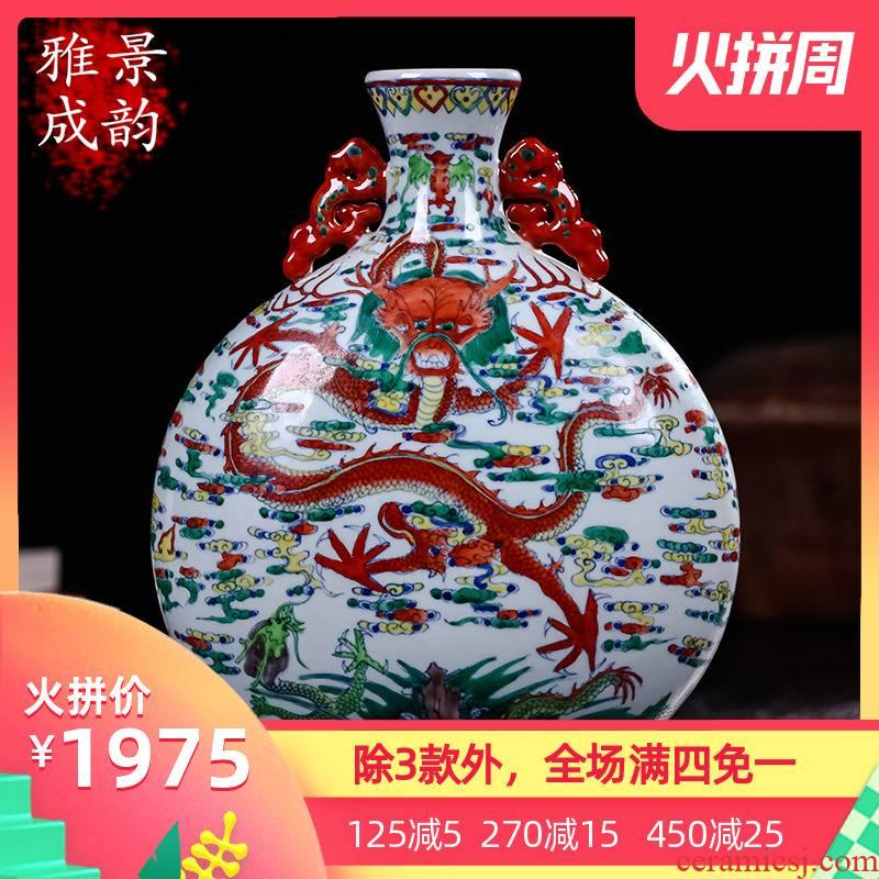 Dragon and archaize classical decoration display porcelain of jingdezhen ceramics decoration the sitting room porch place vase
