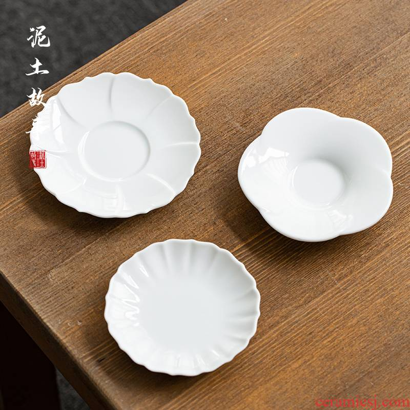 Earth story jingdezhen sweet white cup mat Japanese ceramic sample tea cup white kung fu tea tea pad insulation