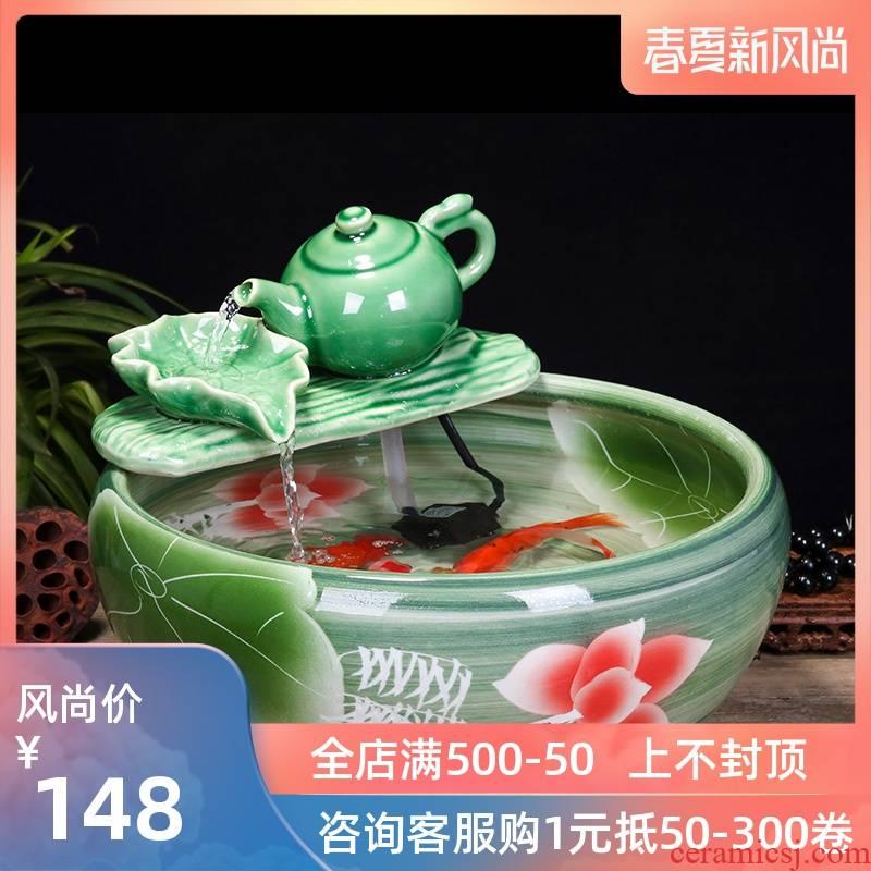 Jingdezhen ceramic aquarium water fountain creative fish circulation place small sitting room adornment
