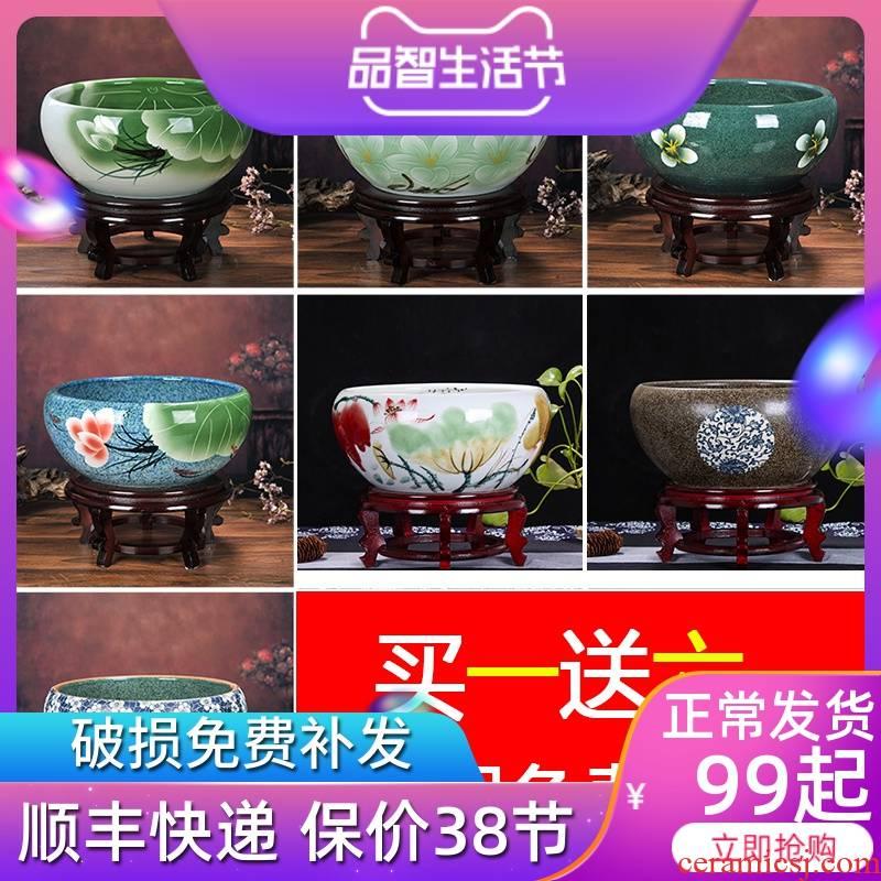 Jingdezhen ceramic aquarium small tortoise cylinder with thick circular home sitting room desktop goldfish bowl fish bowl