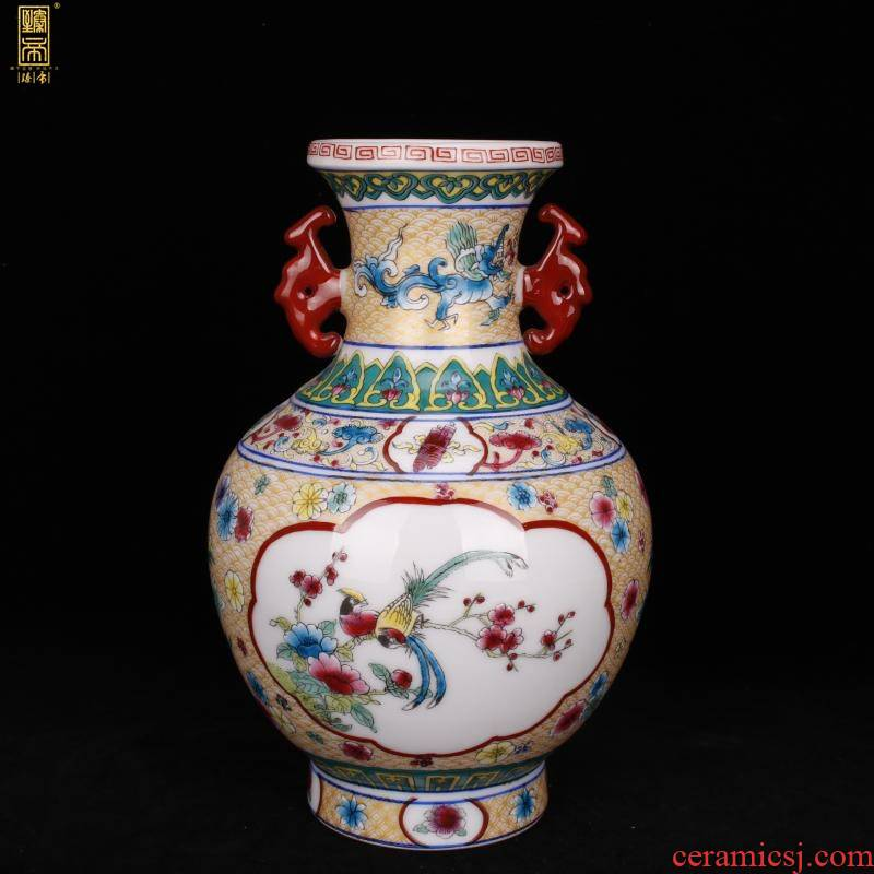 Jingdezhen imitation qianlong enamel painting of flowers and ears of the reward bottle sitting room decorated boutique antique antique Chinese penjing collection