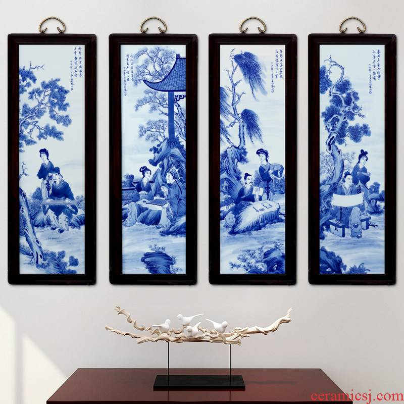 Jingdezhen porcelain ceramic four screen template sitting room adornment picture setting porch corridor wall mural hang a picture