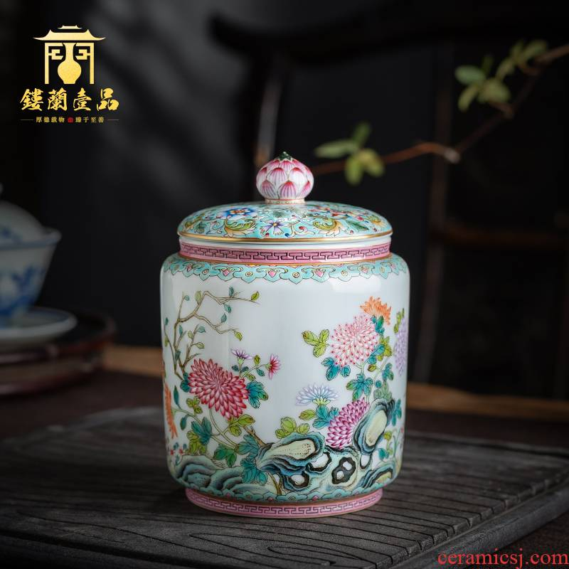 Jingdezhen ceramic all hand - made pastel heavy full by pu 'er tea pot lid can receive storage collection of tea