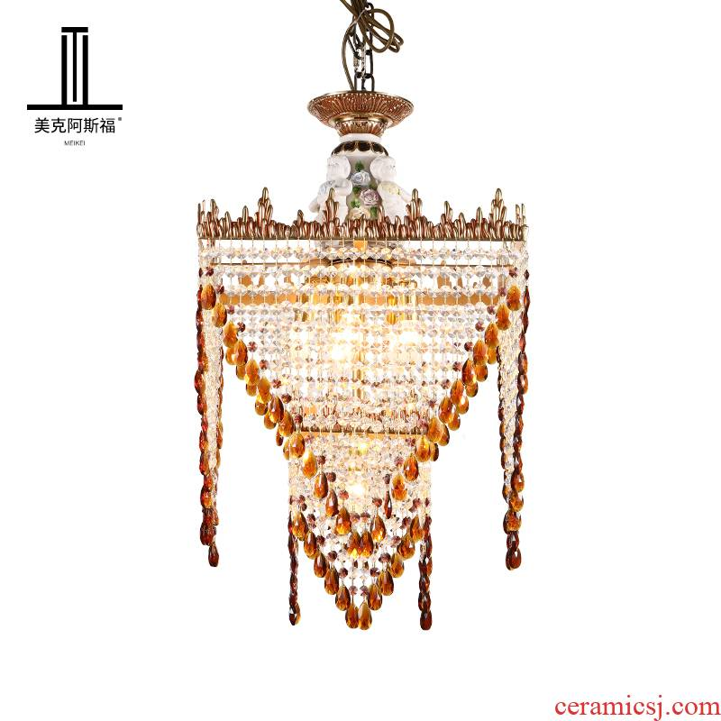 French full copper crystal droplight ceramic European - style key-2 luxury villa living room bedroom corridor restaurant study porch stairs