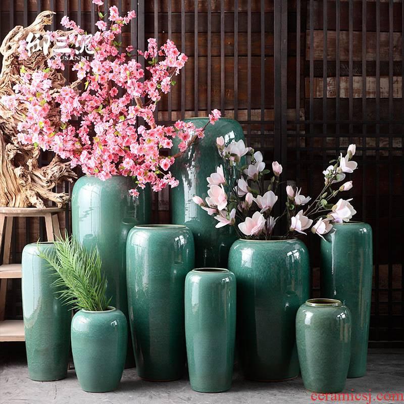 Modern European style living room decoration to the hotel furnishing articles large vases, ceramic vase landing dried flower color glaze up flower arrangement