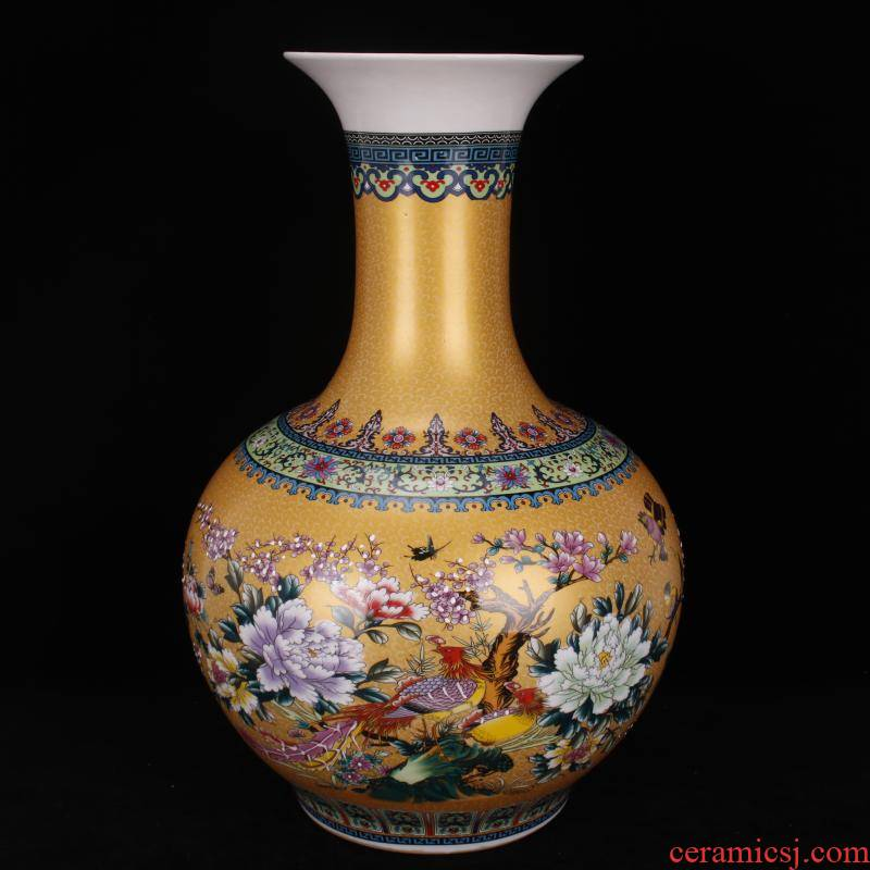 Jingdezhen imitation qianlong antique colored enamel in yellow flowers and birds landing is great reward bottles of Chinese classical Ming and the qing dynasty vase furnishing articles