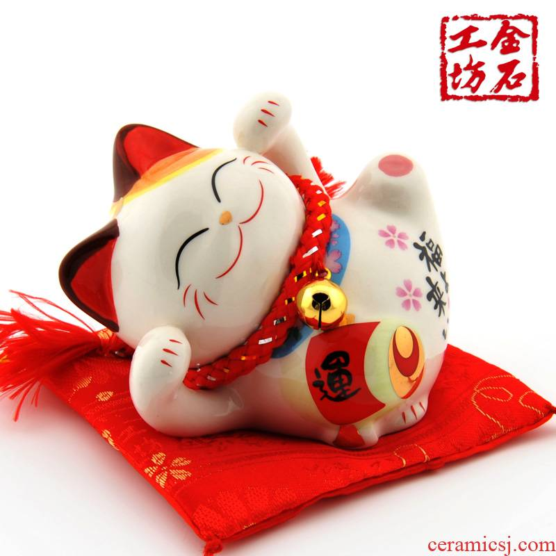 Stone workshop plutus cat ceramic mini small furnishing articles furnishing articles piggy bank opening of household car