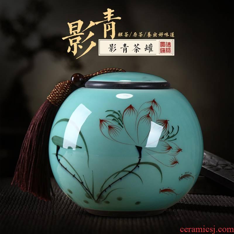 Jingdezhen ceramics Chinese hand - made caddy fixings storage tank pu 'er tea tea POTS awake small seal storage tank