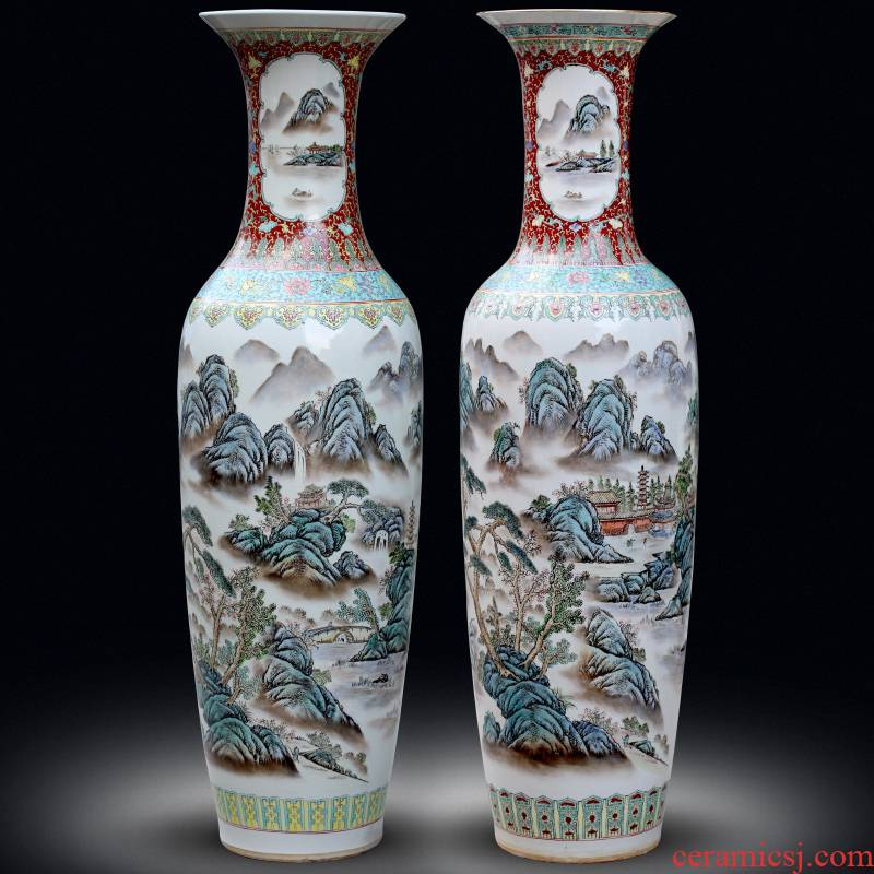 Jingdezhen ceramics antique hand - made landscape painting landing big vases, new Chinese style living room decorations furnishing articles