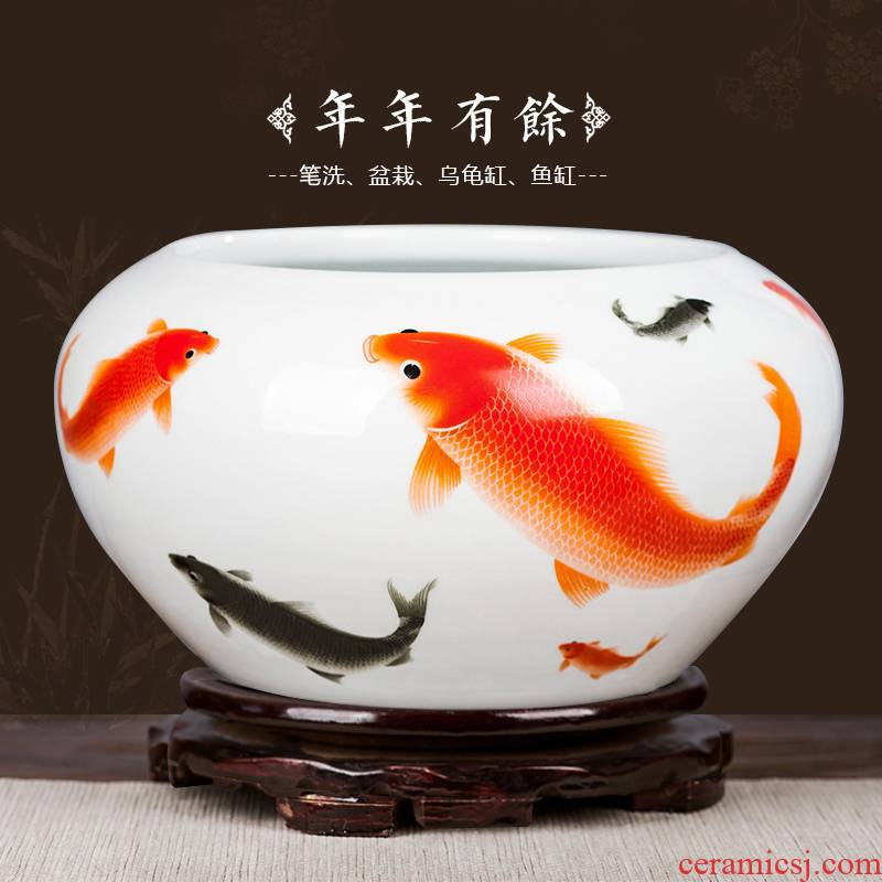 Jingdezhen ceramics fish tank water lily basin bowl lotus tortoise cylinder aquarium writing brush washer with fish decorations furnishing articles