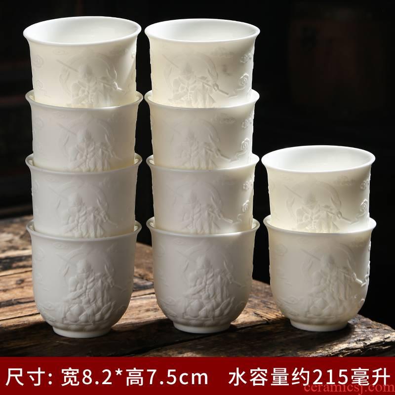 Dehua white porcelain tea set household kung fu master sample tea cup suet jade ceramic cups cup single CPU pu 'er tea light