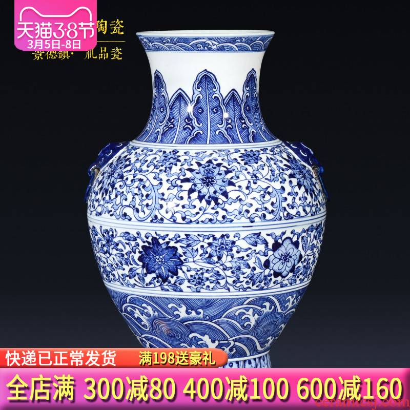 Jingdezhen ceramics imitation qianlong hand - made of blue and white porcelain vases, sitting room of the new Chinese style household decorations furnishing articles gifts