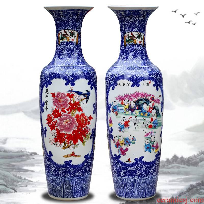 Jingdezhen ceramic vase of large sitting room adornment large furnishing articles hand - made porcelain enamel peony hotel gift