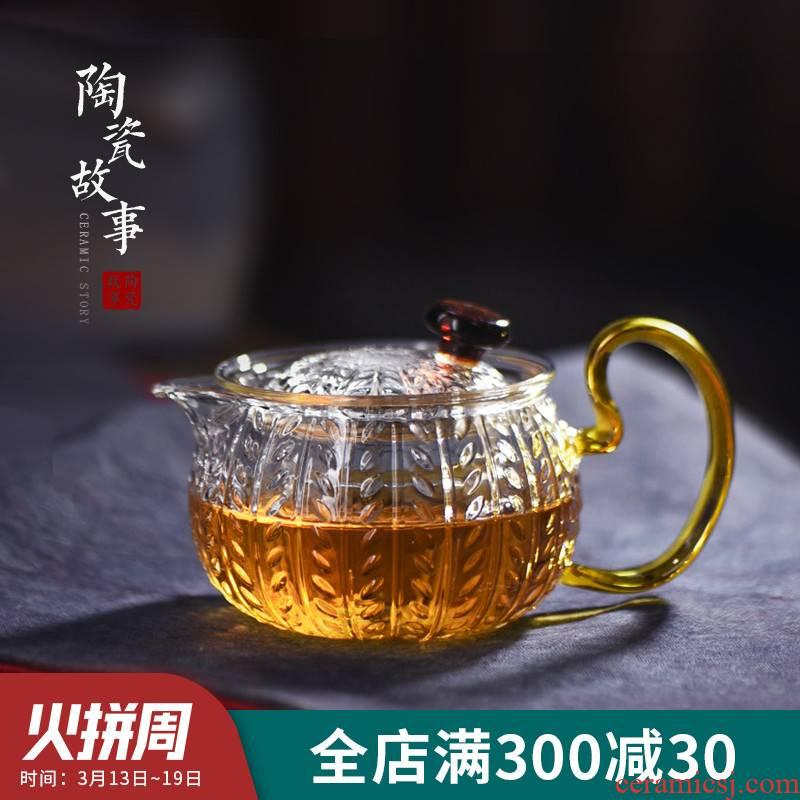 Ceramic teapot story little teapot tea separation, high temperature resistant glass hammer floret teapot tea set