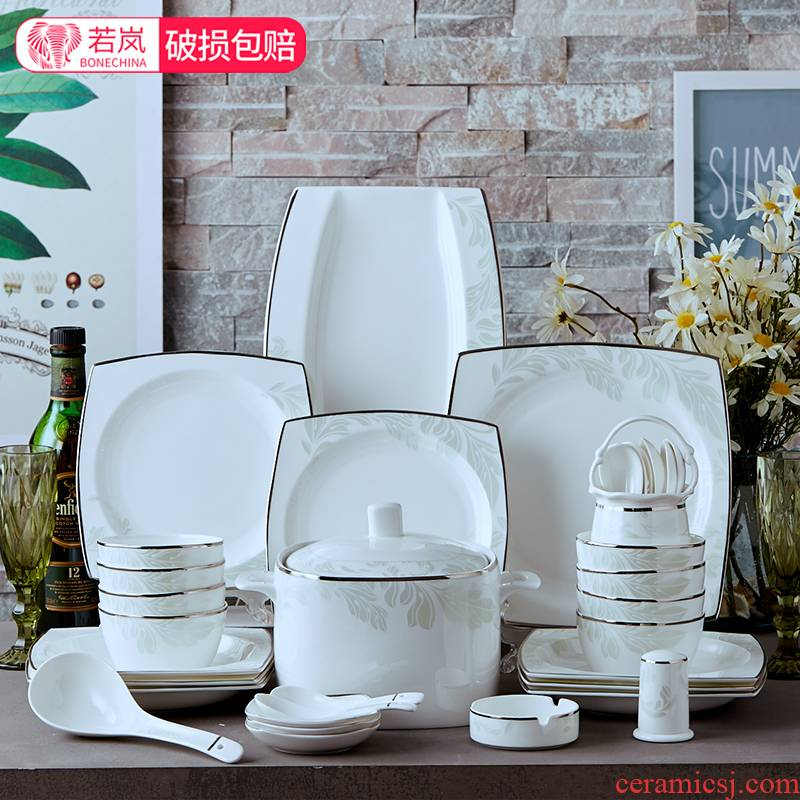 Ipads China tableware suit dishes ceramic dishes suit household Chinese students eat large bowl chopsticks sets of 10