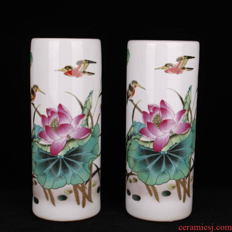 Pastel lotus home and everything ceramic cap tube quiver picture tube Chinese style living room TV cabinet table ano home furnishing articles