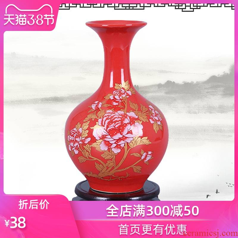Mesa of jingdezhen ceramic vase creative furnishing articles Chinese red porcelain vase flowers, jingdezhen porcelain household act the role ofing is tasted