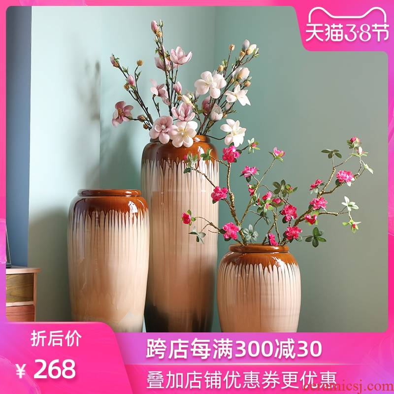 Jingdezhen dried flower vase landing modern Chinese style is contracted dry flower arranging flowers is placed extra large ceramic the sitting room porch