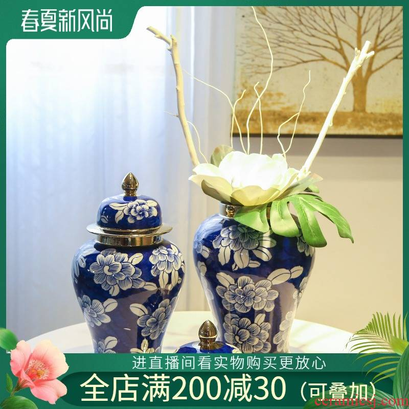 Mesa of the new Chinese jingdezhen ceramic vase living room TV cabinet table home furnishing articles simulation flower art