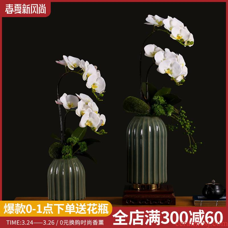 New Chinese style butterfly orchid simulation for furnishing articles home sitting room adornment flower on the table decoration ceramic flower pot